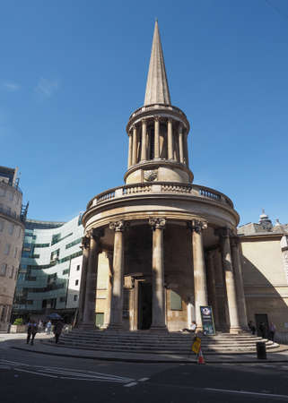 LONDON, UK - CIRCA JUNE 2017: All Souls evangelical Anglican church in Langham Place, Marylebone near the BBC headquarters