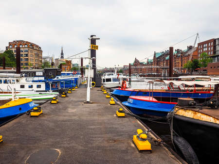 HAMBURG, GERMANY - CIRCA MAY 2017: HafenCity quarter in the district of Hamburg Mitte on the Elbe river island Grasbrook on former Hamburger Hafen (Port of Hamburg), hdr