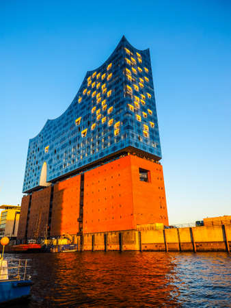warehouse building: HAMBURG, GERMANY - CIRCA MAY 2017: Elbphilharmonie concert hall designed by Herzog and De Meuron, hdr