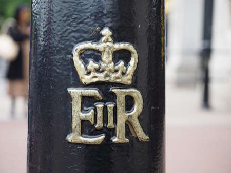LONDON, UK - CIRCA JUNE 2017: Royal cypher of HM the Queen Elizabeth II (E II R) on a lamp post Editöryel