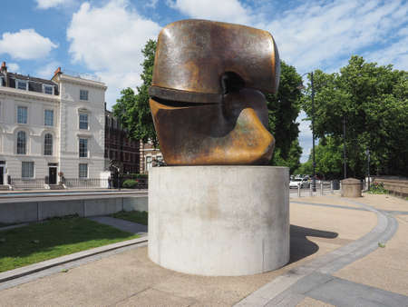 LONDON, UK - CIRCA JUNE 2017: Sculpture titled Locking Piece by sculptor Henry Moore Editorial