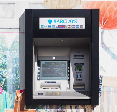 LONDON, UK - CIRCA JUNE 2017: Barclays bank invented Automated Teller Machine (ATM) in 1967. It is now widely used worldwide
