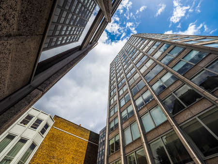 alison: LONDON, UK - CIRCA JUNE 2017: The Economist Building iconic new brutalist architecture designed by the Smithsons (high dynamic range)
