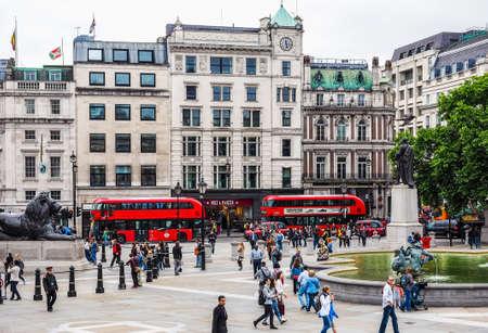 trafalgar: LONDON, UK - CIRCA JUNE 2017: People in Trafalgar Square (high dynamic range)