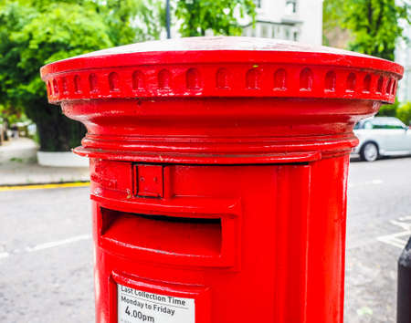 LONDON, UK - CIRCA JUNE 2017: red mailbox (high dynamic range) Editorial