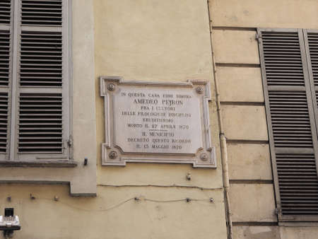 TURIN, ITALY - CIRCA JULY 2017: Plaque at the house where philologist and textual critic scolar Amedeo Peyron lived