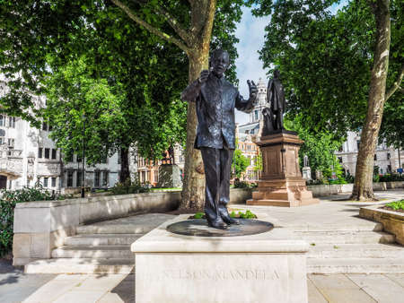 LONDON, UK - CIRCA JUNE 2017: Nelson Mandela monument in Parliament Square (high dynamic range)