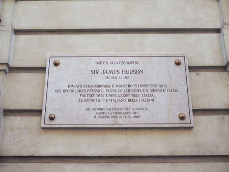 TURIN, ITALY - CIRCA JULY 2017: Plaque at the house where Sir James Hudson GCB British diplomat ambassador to Turin between 1852 and 1863 lived