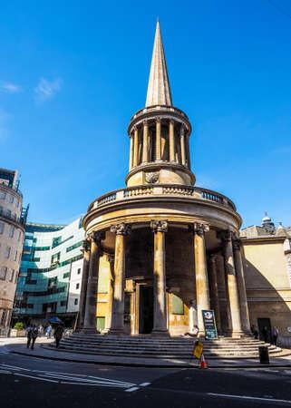 LONDON, UK - CIRCA JUNE 2017: All Souls evangelical Anglican church in Langham Place, Marylebone near the BBC headquarters (high dynamic range)