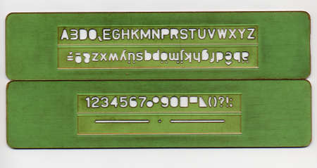 stencil set with upcase lowercase letters and numbers