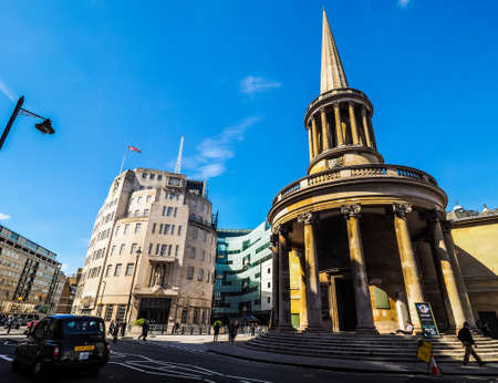 dwelling: LONDON, UK - CIRCA JUNE 2017: BBC Broadcasting House headquarters of the British Broadcasting Corporation in Portland Place (high dynamic range)