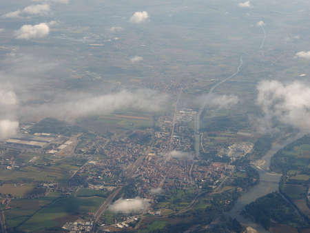 Aerial view of the city of Chivasso, Italy Imagens