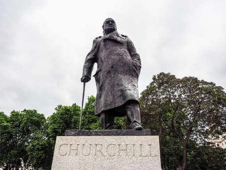 LONDON, UK - CIRCA JUNE 2017: Winston Churchill monument in Parliament Square (high dynamic range) Editorial