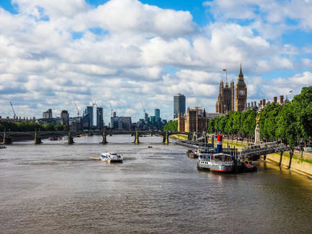 LONDON, UK - CIRCA JUNE 2017: Houses of Parliament aka Westminster Palace seen from River Thames (high dynamic range)