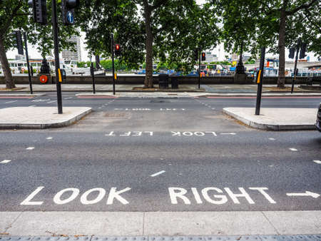 LONDON, UK - CIRCA JUNE 2017: look right and look left road signs (high dynamic range)