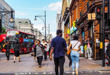 oxfordshire: LONDON, UK - CIRCA JUNE 2017: People in Oxford Street (high dynamic range)