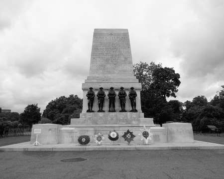 LONDON, UK - CIRCA JUNE 2017: Household Guards war memorial cenotaph in black and white