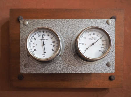 hygrometer: vintage analog thermometer and hygrometer to measure air temperature and relative humidity (air vapour) - text in Italian