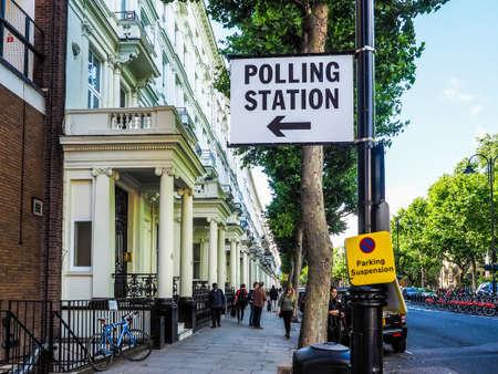 LONDON, UK - CIRCA JUNE 2017: A polling Station sign (high dynamic range) Redakční
