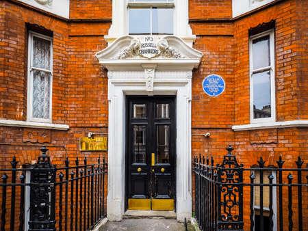 LONDON, UK - CIRCA JUNE 2017: House of British philosopher Bertrand Russell, high dynamic range Editorial