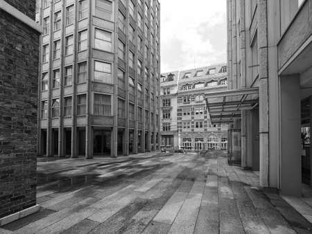 alison: LONDON, UK - CIRCA JUNE 2017: The Economist Building iconic new brutalist architecture designed by the Smithsons in black and white
