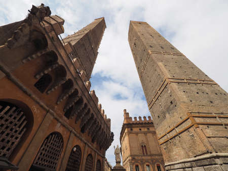 Torre Garisenda and Torre Degli Asinelli leaning towers aka Due Torri (meaning Two towers) in Bologna, Italy Stock Photo