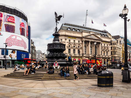 LONDON, UK - CIRCA JUNE 2017: People in Piccadilly Circus, high dynamic range Editorial