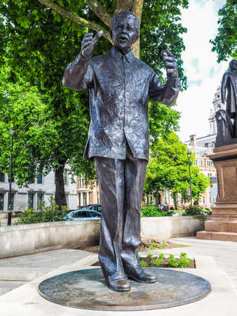 LONDON, UK - CIRCA JUNE 2017: Nelson Mandela monument in Parliament Square, high dynamic range