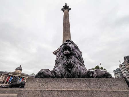 trafalgar: LONDON, UK - CIRCA JUNE 2017: People in Trafalgar Square, high dynamic range Editorial