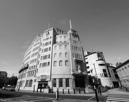 LONDON, UK - CIRCA JUNE 2017: BBC Broadcasting House headquarters of the British Broadcasting Corporation in Portland Place in black and white