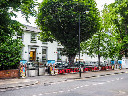 LONDON, UK - CIRCA JUNE 2017: Abbey Road recording studios made famous by the 1969 Beatles album cover, high dynamic range