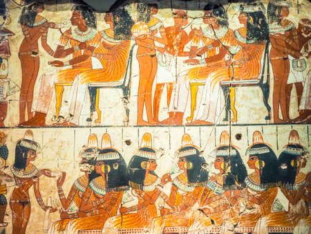 LONDON, UK - CIRCA JUNE 2017: Ancient Egyptian fresco at the British Museum, high dynamic range