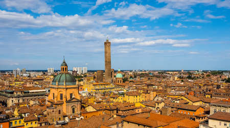Aerial view of the city of Bologna, Italy (vibrant high dynamic range)