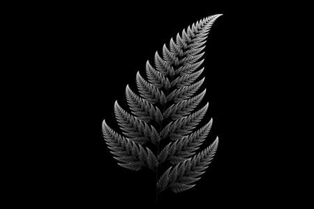 silver Barnsley set fern abstract fractal illustration useful as a background