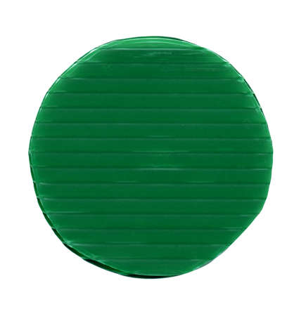 green plastic chip fiche token money - isolated over white