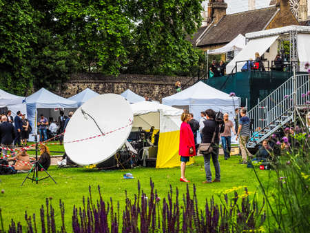 LONDON, UK - JUNE 09, 2017: Press and TV crews in College Green Westminster just opposite the Houses of Parliament, on the day following the June 8 general elections, high dynamic range Editorial