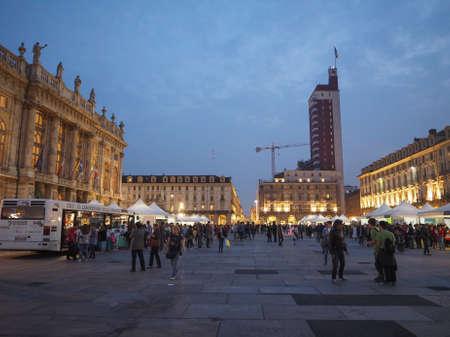 TURIN, ITALY - CIRCA SEPTEMBER 2017: Nightlife in Piazza Castello square in the city centre