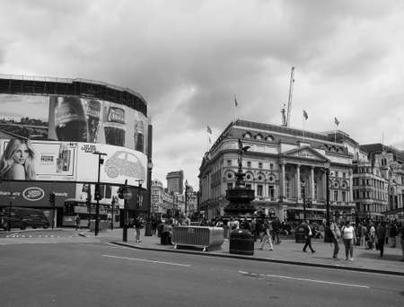 LONDON, UK - CIRCA JUNE 2017: People in Piccadilly Circus in black and white