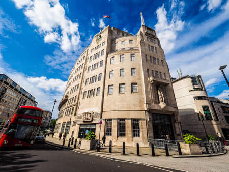 LONDON, UK - CIRCA JUNE 2017: BBC Broadcasting House headquarters of the British Broadcasting Corporation in Portland Place, high dynamic range
