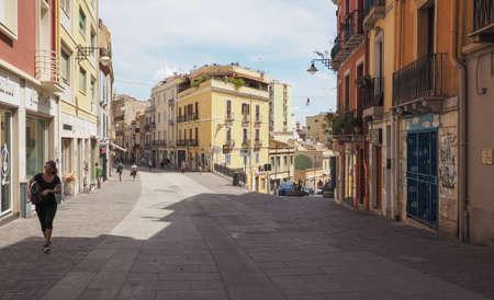 CAGLIARI, ITALY - CIRCA SEPTEMBER 2017: People in Castello quarter aka Casteddu e susu (meaning Upper Castle in Sard) old medieval town city centre Editorial