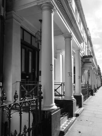 LONDON, UK - CIRCA JUNE 2017: Terraced houses in Notting Hill in black and white