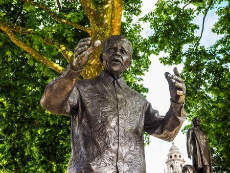 LONDON, UK - CIRCA JUNE 2017: Nelson Mandela monument in Parliament Square, high dynamic range
