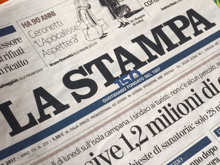 TURIN, ITALY - CIRCA AUGUST 2017: Front page of La Stampa daily national Italian newspaper Banco de Imagens - 90482849