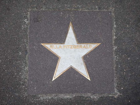 BOLOGNA, ITALY - CIRCA SEPTEMBER 2017: Marble star on the sidewalk dedicated to jazz musician Ella Fitzgerald