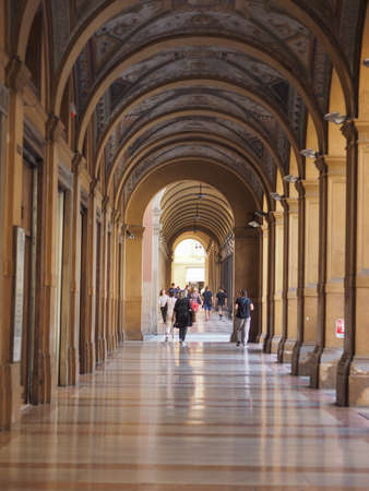 BOLOGNA, ITALY - CIRCA SEPTEMBER 2017: People in traditional colonnade porch (aka as portici) Editorial
