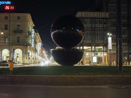 TURIN, ITALY - CIRCA NOVEMBER 2017: Punt e Mes (meaning Point and a half) sculpture designed by Testa inspired by an Italian Vermouth drink by Campari