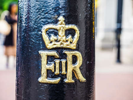 LONDON, UK - CIRCA JUNE 2017: Royal cypher of HM the Queen Elizabeth II (E II R) on a lamp post, high dynamic range