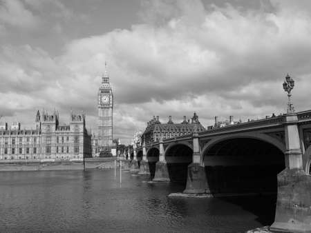 LONDON, UK - CIRCA JUNE 2017: Houses of Parliament aka Westminster Palace in black and white 에디토리얼