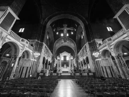 LONDON, UK - CIRCA JUNE 2017: Westminster Cathedral catholic church in black and white