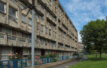 LONDON, UK - CIRCA JUNE 2011: Robin Hood Gardens housing estate designed by Alison and Peter Smithson in late sixties, a masterpiece of new brutalist architecture, is now being demolished